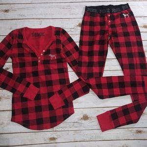 Ladies Size Small VS Pink Buffalo Plaid PJ Set